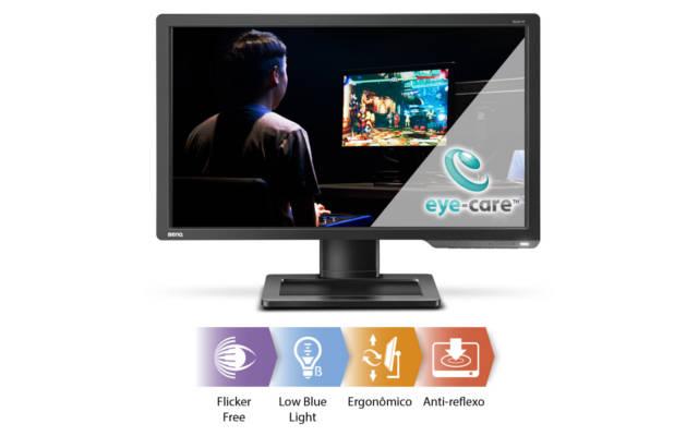 principais funções do monitor, flicker free, low blue light, ergonomico, antireflexo