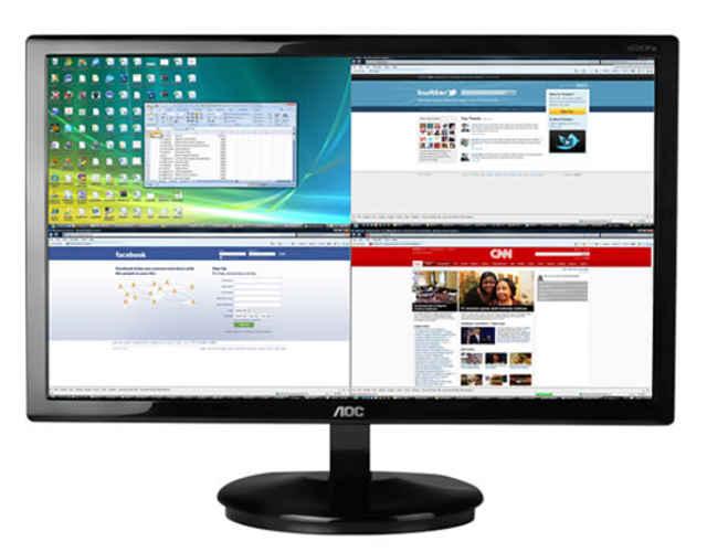 screen plus permite dividir a tela em até 4 janelas